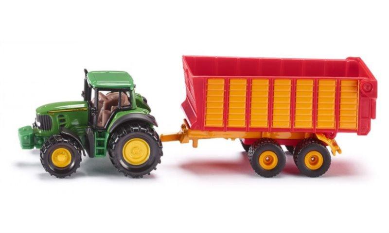 SIKU 1650 Traktor John Deere s přívěsem na siláž