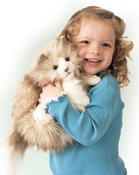 Kočka Fluffy (pohyblivý plyšák na ruku), FOLKMANIS PUPPETS