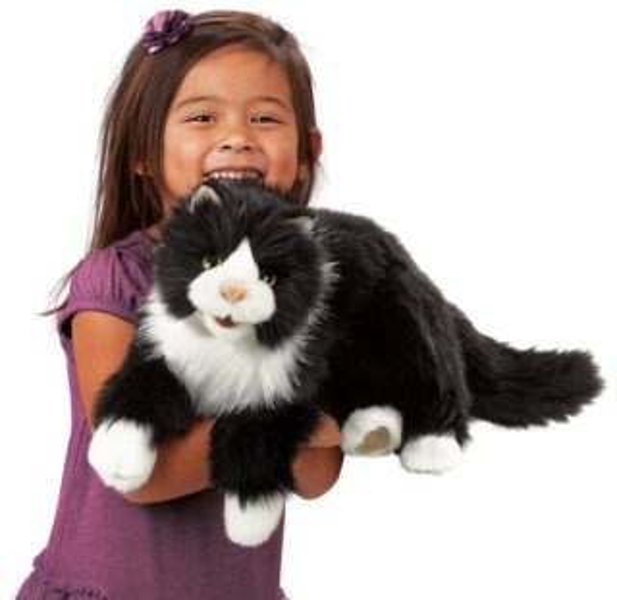 Kočka Tuxedo (pohyblivý plyšák na ruku), FOLKMANIS PUPPETS