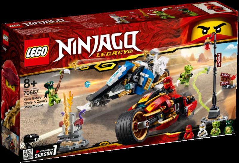 LEGO® NINJAGO® 70667 Kaiova motorka s čepelemi a Zaneův sněžný vůz