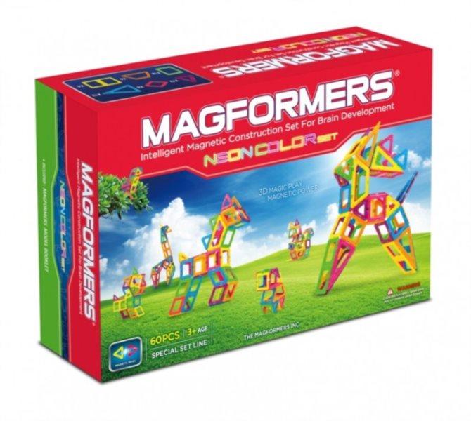 Kreativní magnetická stavebnice MAGFORMERS Neon set 60 dílků