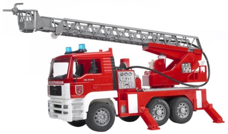 MAN TGA hasičské auto s žebříkem, pumpou, světly a zvuky 1:16