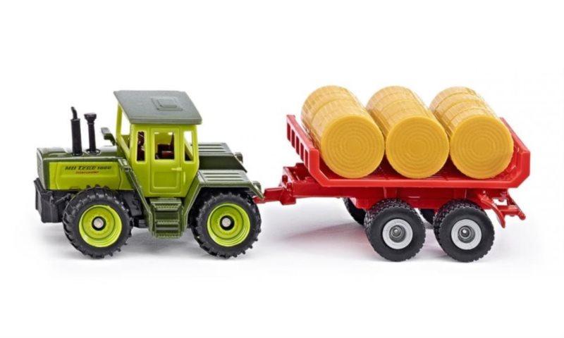 SIKU 1670 MB-traktor s vlečkou na balíky slámy