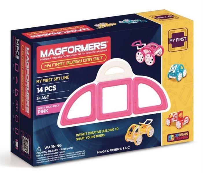 Magnetická stavebnice Moje první bugy růžové 14 dílků