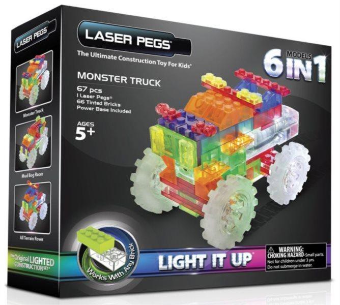 Svítící stavebnice LASER PEGS Monster Trucky 6v1
