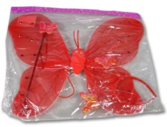 Dětský kostým Motýlí křídla - červená (svítící), MADE