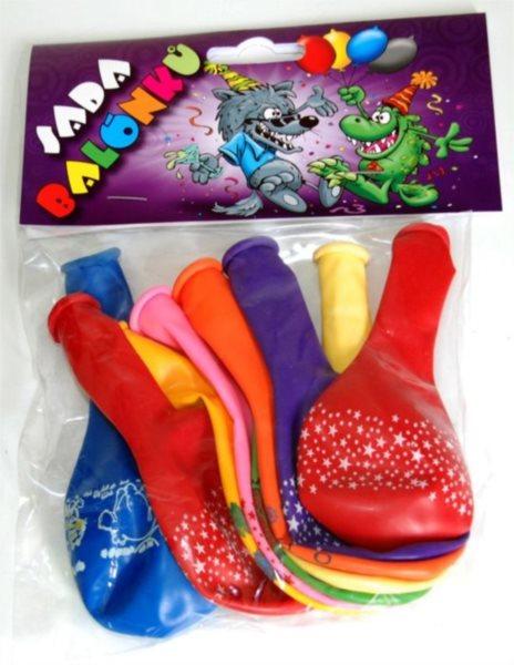 Nafukovací balónky - barevné s potiskem - sada 9 ks (mix barev)