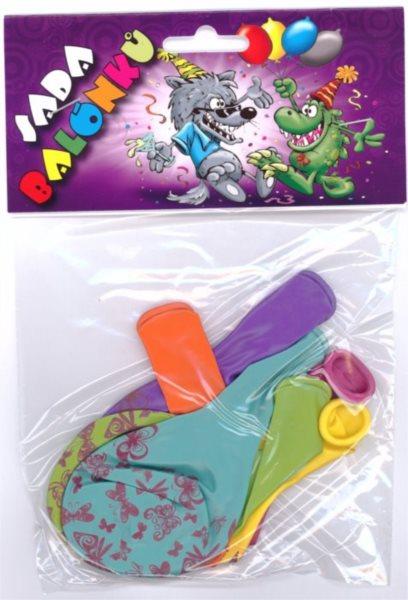 Nafukovací balónky - barevné s potiskem motýlů - sada 6 ks (mix barev)