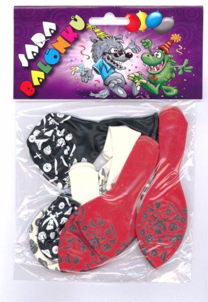 Nafukovací balónky - barevné s potiskem pirátských motivů - sada 6 ks (mix barev)