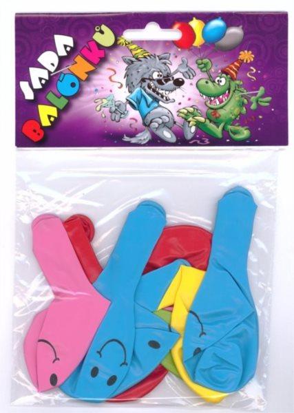 Nafukovací balónky - barevné s potiskem Smile - sada 9 ks (mix barev)