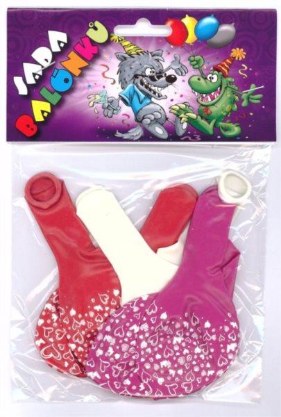 Nafukovací balónky - barevné s potiskem srdce - sada 6 ks (mix barev)