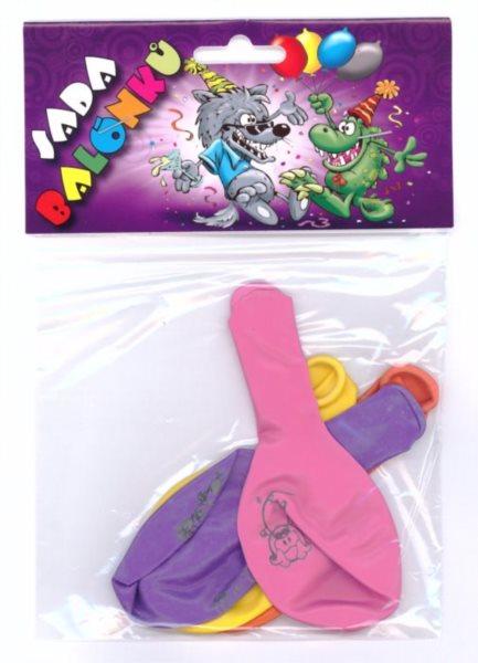 Nafukovací balónky - barevné s potiskem zvířátek - sada 4 ks (mix barev)