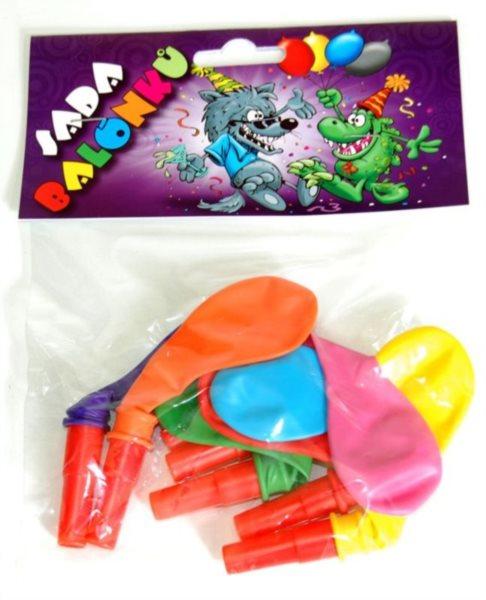 Nafukovací balónky s píšťalkou - sada 7 ks (mix barev)