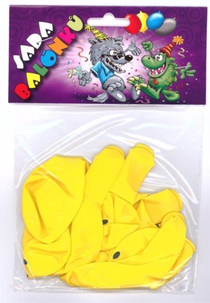 Nafukovací balónky - žluté s potiskem smile - sada 9 ks