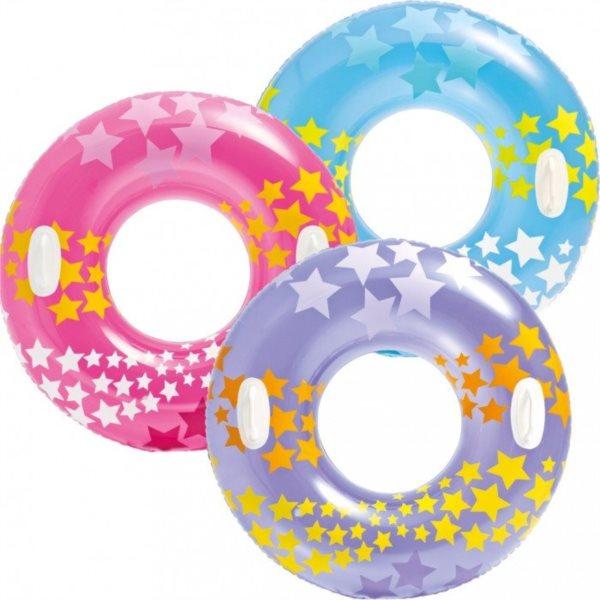 Nafukovací kruh Hvězdy s madly 91 cm (mix)