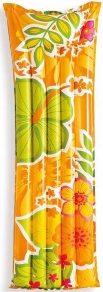Nafukovací lehátko do vody INTEX Oranžové s květinami