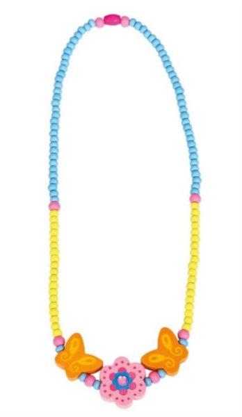 Dřevěný náhrdelník: Růžová kytička
