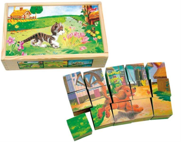 BINO Obrázkové kostky Domácí zvířátka, 15 kostek