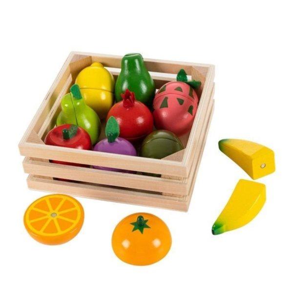 ECOTOYS Dřevěné ovoce v bedýnce