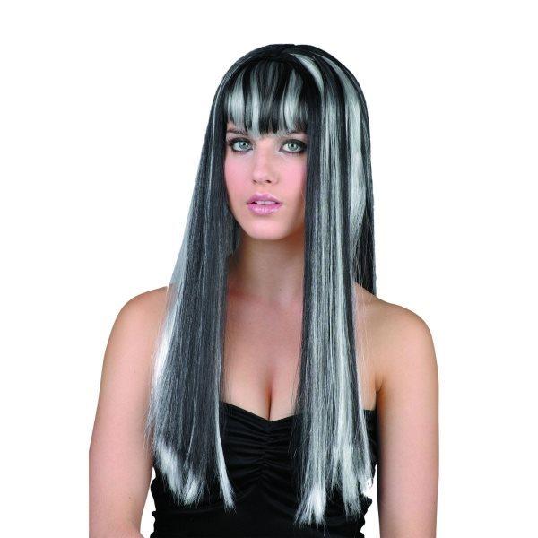 Paruka - černobílá (dlouhé vlasy)