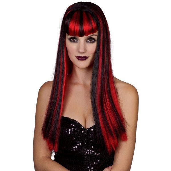 Paruka - černočervená (dlouhé vlasy)