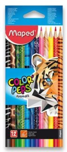 MAPED Pastelky trojboké Color'Peps Animals 12ks