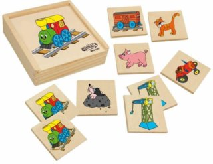WOODY, Dětské dřevěné pexeso Mašinka