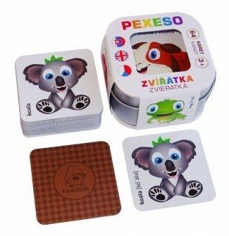 Pexeso pro děti v plechové krabičce - Zvířátka