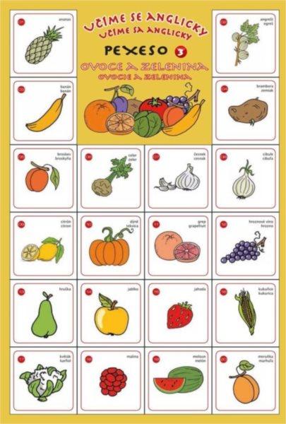 Rodinná hra Pexeso Učíme se anglicky: Ovoce a zelenina