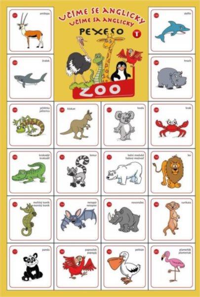 Rodinná hra Pexeso Učíme se anglicky: ZOO