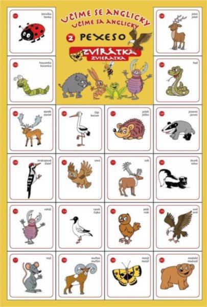 Rodinná hra Pexeso Učíme se anglicky: Zvířátka