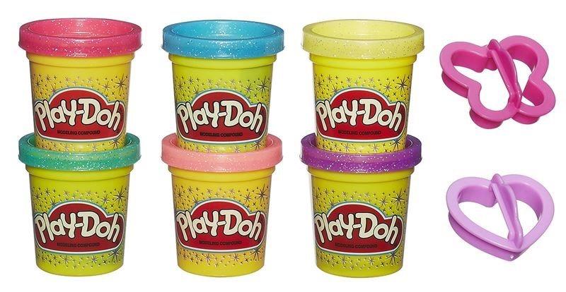 Play-Doh: Sada 6 kelímků třpytivé plastelíny