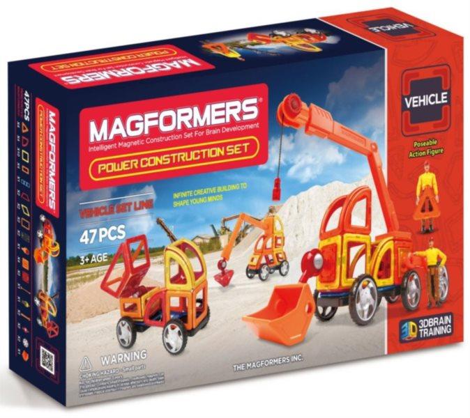 Magnetická stavebnice MAGFORMERS Power Construction - Stavební auta