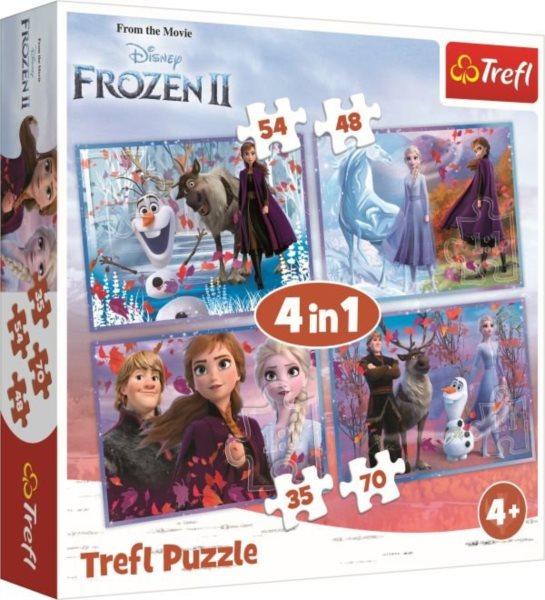 TREFL Puzzle Ledové království 2: Cesta do neznáma 4v1 (35,48,54,70 dílků)