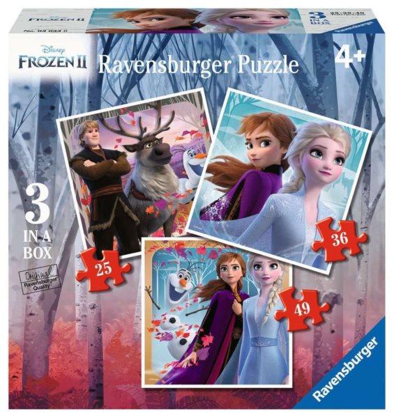 RAVENSBURGER Puzzle Ledové království 2: Magie 3v1 (25,36,49 dílků)