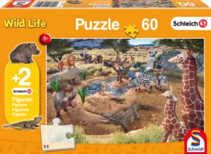 SCHMIDT Puzzle Schleich U napajedla 60 dílků + figurky Schleich