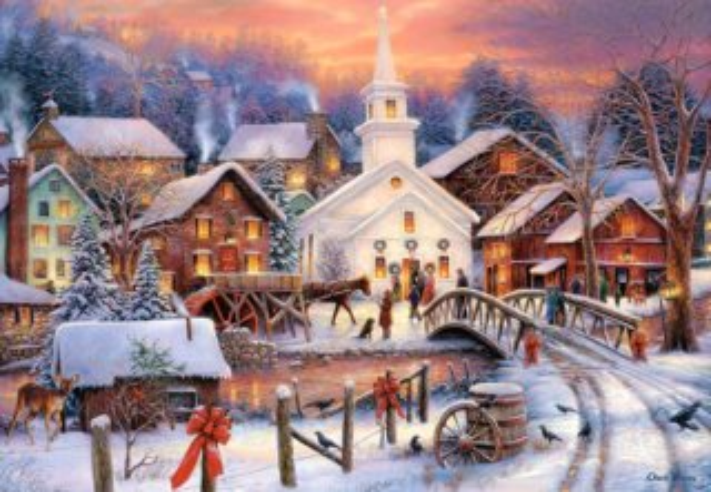 CASTORLAND Puzzle Zasněžená vánoční vesnička 1000 dílků