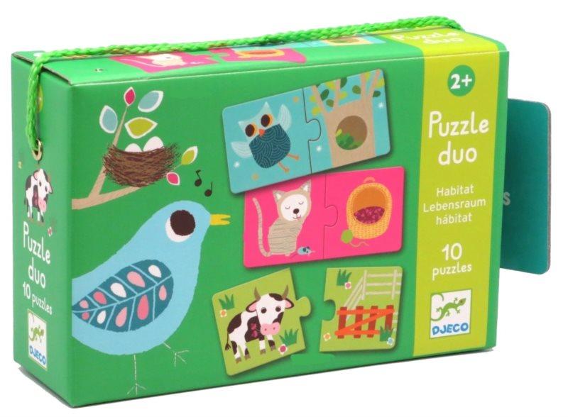DJECO Puzzle Zvířecí domečky 12x2 dílků