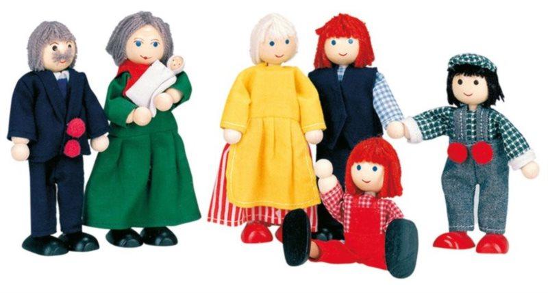 BINO Sada dřevěných panenek: Velká rodina