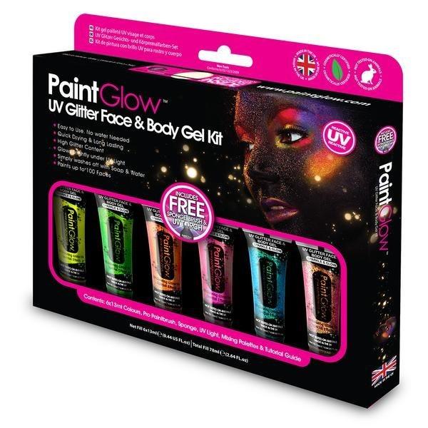 PAINTGLOW Sada gelových třpytek na obličej a tělo s UV světlem
