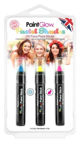 PAINTGLOW Sada pastelových UV tužek na obličej (modrá, žlutá, růžová)