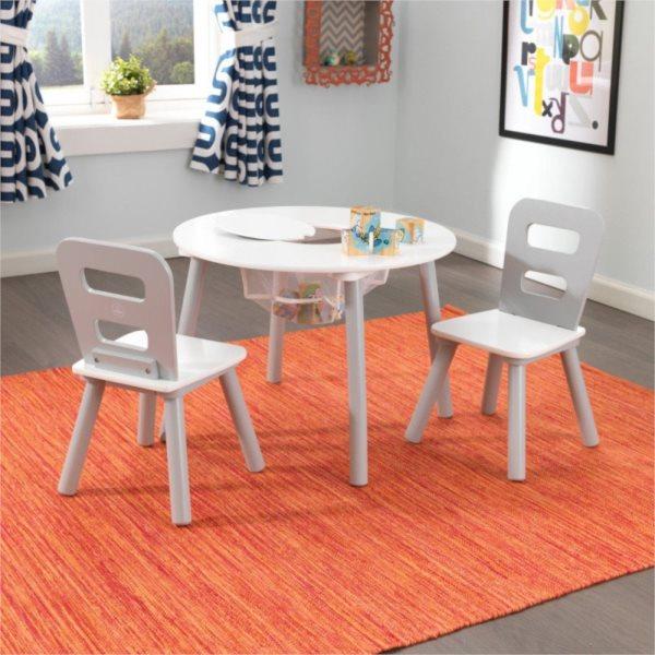 KIDKRAFT Kulatý stůl s úložným prostorem a židličkami - šedý