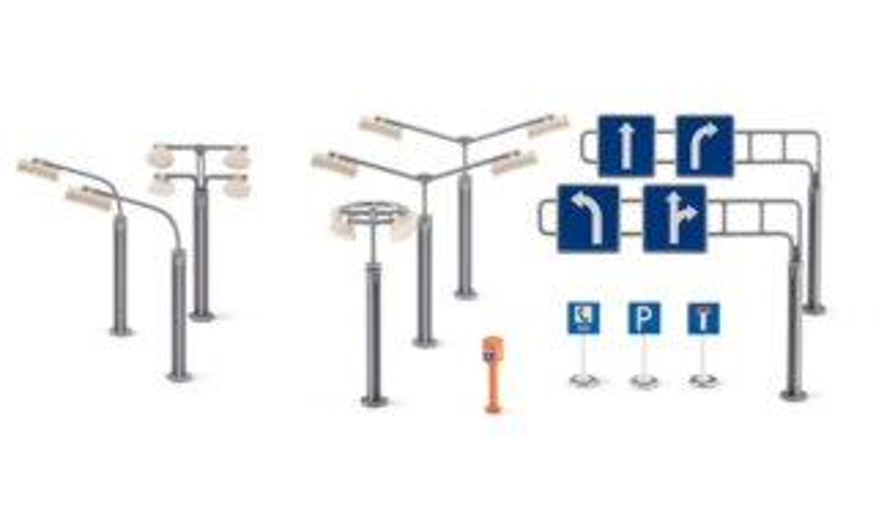 SIKU World 5594 Doplňky - dopravní značky a pouliční osvětlení