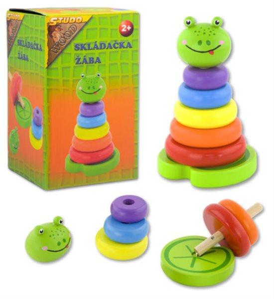 Skládačka barevné kroužky - Žabka