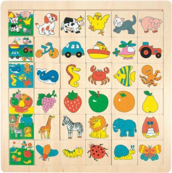 WOODY Skládačka Co kam patří - zvířata, věci, ovoce a doprava