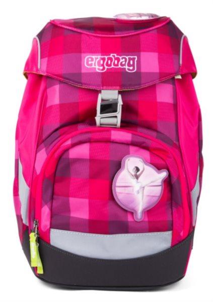 ERGOBAG Školní batoh Prime purpurový károvaný 453a17828b