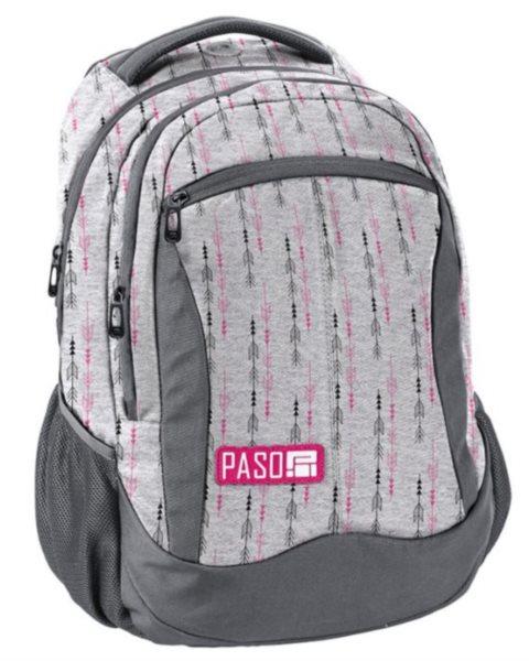 PASO Školní batoh Unique - Šedo-růžový