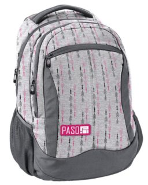 35ee1dabc6 PASO Školní batoh Unique - Šedo-růžový