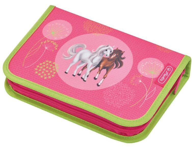 HERLITZ Školní penál jednopatrový s vybavením Koně (růžový)