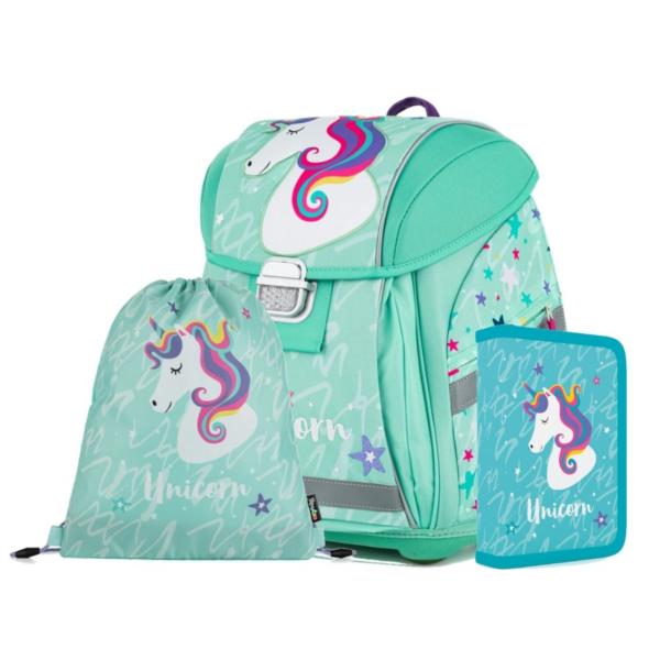 OXYBAG Školní set Premium Light Unicorn iconic + zdarma mazací pero a blok